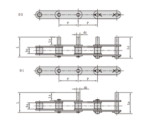 Stainless Steel Double Pitch Conveyor Chains with Extended Pins