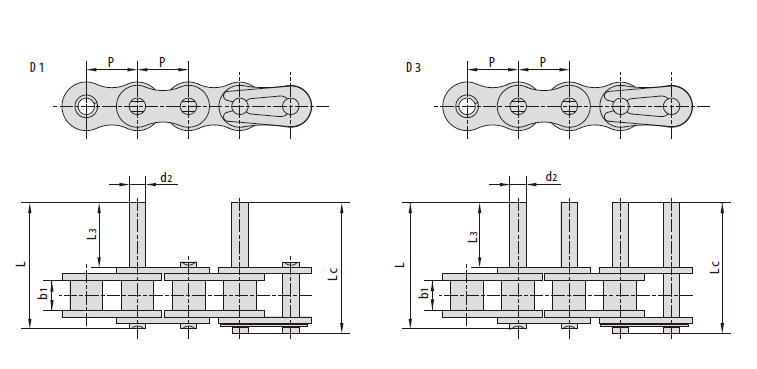 Short Pitch Conveyor Chains with Extended Pins